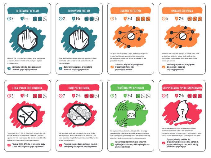 """Gra karciana o bezpieczeństwie i ochronie prywatności """"Trzęsienie danych"""". Widok 8 kart do gry."""